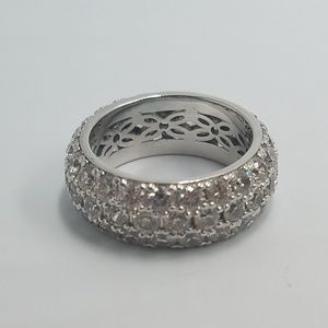 Sterling Silver 925 Crystal Cluster Band Ring 4.75